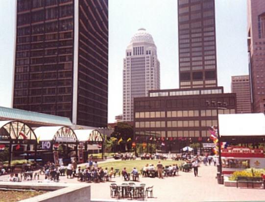 Plaza near Ohio River in Louisville